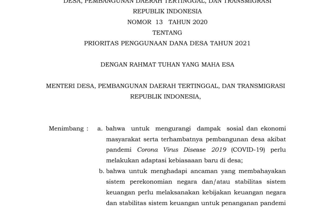 Permendes No 13 Tahun 2020