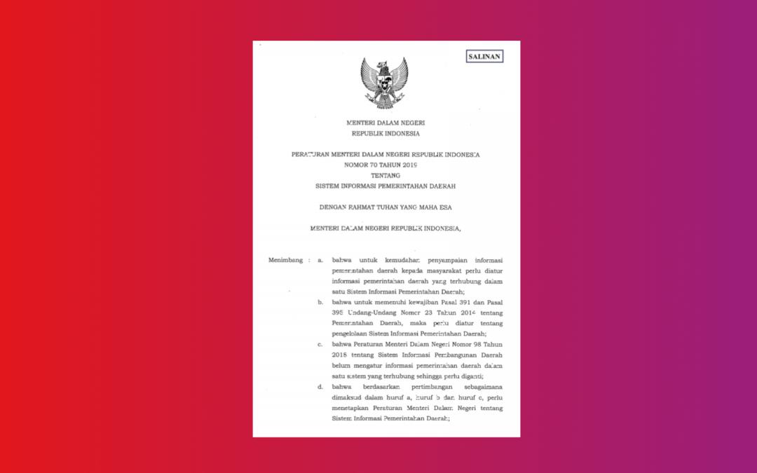 Kemendagri – Permendagri No 70 Tahun 2019 Sistem Informasi Pemerintah Daerah