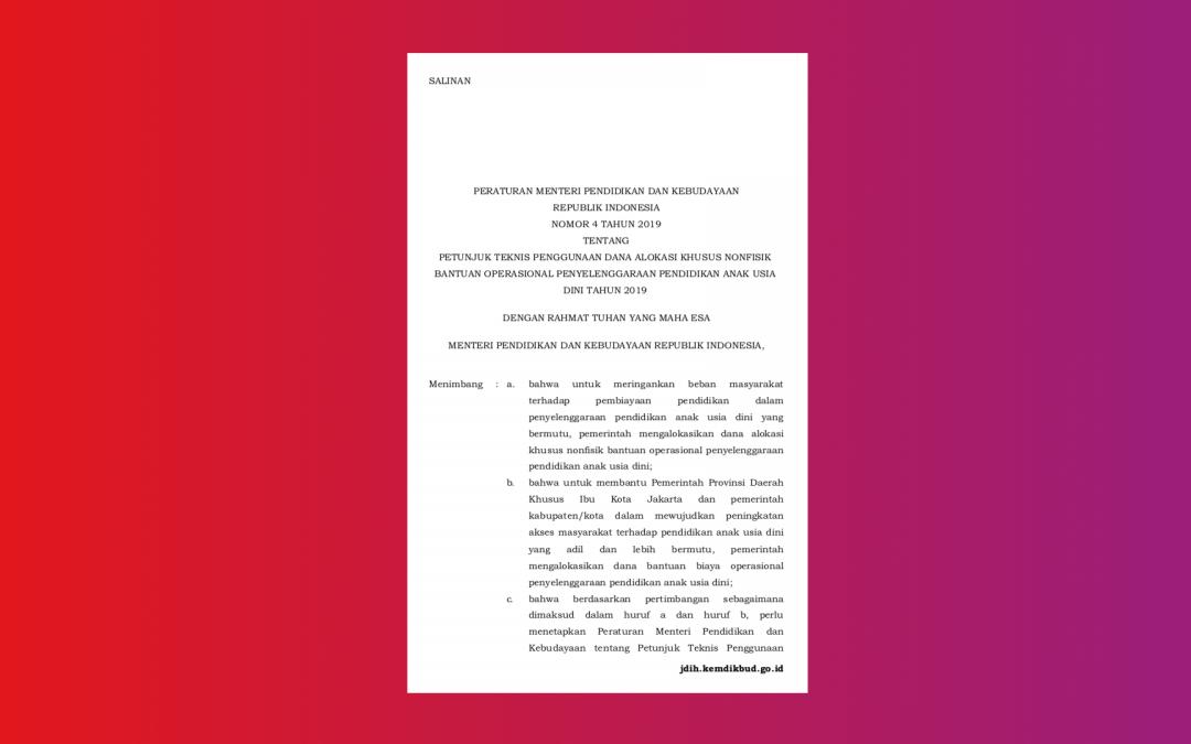 Kemendikbud – Permendikbud Nomor 4 Tahun 2019