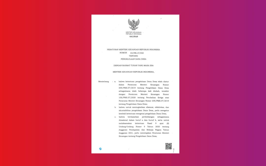 PMK 222 Tahun 2020 Tentang Pengelolaan Dana Desa Tahun Anggaran 2021