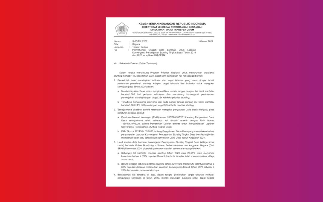 Permohonan unggah data lengkap untuk laporan konvergensi pencegahan stunting